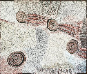 Title: Rockholes near the Olgas                                                                  - Artist: Bill Whiskey Tjapaltjarri                                                                              (acrylic on linen - 180 x 153 cm -2008)