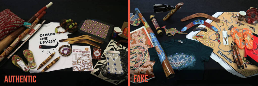 Examples of Fake and Authentic product. Image: Gabrielle Sullivan Indigenous Art Code