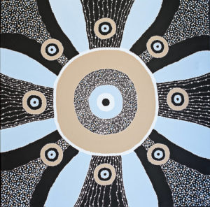 Title: Wakulda (As One)                                                                          - Artist: Angela Marr-Grogan                                                                                      (2017 Title 'Wakulda' meaning 'As One' in Gathang Language   Symbolism  'Wakulda' represents a collaborative approach 'as one' in Reconciliation through community consultation, creating partnership & respecting country.  The inner circles represent BMD and community with the outer circular rounds representing organisations and working partnerships. The circles and line work also are symbolic of country and making connections.)