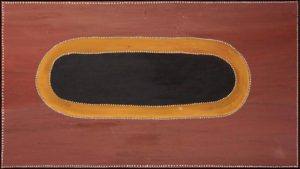 Title: Billaloona (Wungoo)                                                                  - Artist: Rover Thomas (Julama)                                                                              (1994, Ochre on canvas, 90 x 160cm - Biggest Water, near Canning Stock Route. Features in the publication 'Fire and Shadow' Spirituality in Contemporary Australian Art)