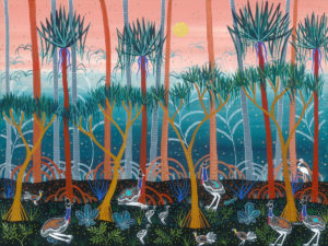 Title: Cassowaries in the Pandanus Forest                                                                          - Artist: Melanie Hava                                                                                      (2018, 76 x 101cm Mixed Media)