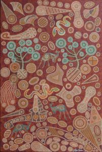 Title: Gems of The Earth                                                                          - Artist: Greg Matthews                                                                                      (2017 - Shapes, patterns and colours of the Australian landscape are represented in my painting. Trees, snakes and kangaroos blend seamlessly into an incredible jewel like environment.)