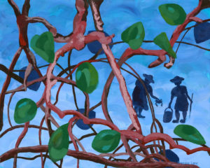 Title: Into the Mangroves II                                                                          - Artist: Francoise Lane                                                                                      (2019 Is a visual narrative recollecting two aunties crabbing when I was a little girl. I remember looking through the mangroves to make sure I wasn't too far away from them.)