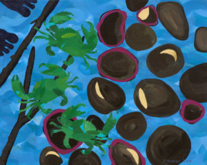 Title: Into the Mangroves III                                                                          - Artist: Francoise Lane                                                                                      (2019 'Into the Mangroves' tells a visual narrative of crab hunting with two of my aunts when I was a young girl. This work is an exploritory piece playing with shapes, colour and textures, repetition, scale and perspective to convey the story within the artworks.)