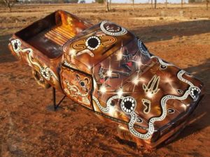 Title: Tribe-Ute (Tribute)                                                                          - Artist: Lewis Burns                                                                                      (2007 - This Ute was painted in a fundraiser for