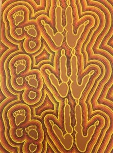 Title: Tracking Marlu                                                                          - Artist: Matthew Moore                                                                                      (2019 This painting depicts the foot prints of the tracker and the tracks of the marlu (kangaroo). The tracks were made the way my Grandmother showed me in the sand when we used to go for walks out bush, I have used this technique with paint to create marlu tracks. This is the way my ancestors used to track marlu when they went hunting.)