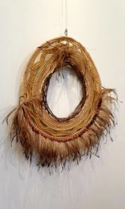 Title: WEITJ NOOROOK                                                                           - Artist: Lea Taylor                                                                                       (2020. Mixed natural fibres, Weitj feathers & Kwandong nuts.)
