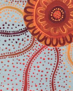 Title: Eora Kaleidoscope                                                                          - Artist: Sherrie                                                                                      (2020: Colour – Abundance of Red, Orange and Yellow Ochre. Hand Painted. Acrylic on canvas with frame, ready to hang. Created with love and care for the land, sea and for our culture here in La Perouse. Size 50cm x 40cm x 1.8cm)