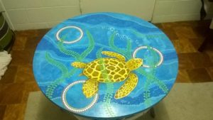 Title: Whitsunday Turtle                                                                          - Artist: Kris Brown                                                                                      (Turtle in Bowen Waters Table)